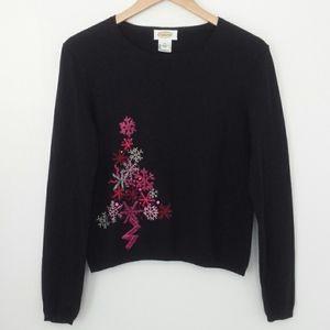 Talbot's Black Christmas Embellished Sweater
